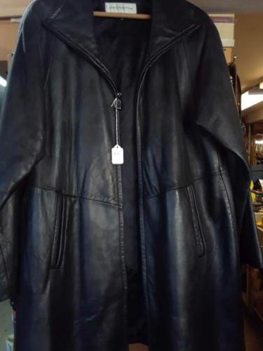 Leather coat, long